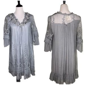 Pretty Angel Gray Tunic Dress Ruffle Floral Pearl
